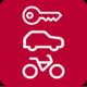 Icon: Fahrrad, Auto und Schlüssel