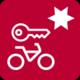 Icon: Fahrrad mit Schlüssel und Stern