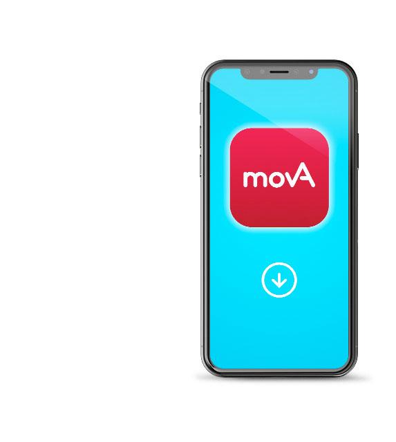 Foto: Smartphone mit movA Logo